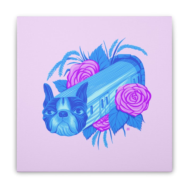 Terrier Train to Rose & Rice Town is Blossoming at the Station (5 word v10) Home Stretched Canvas by michaeljhildebrand's Artist Shop