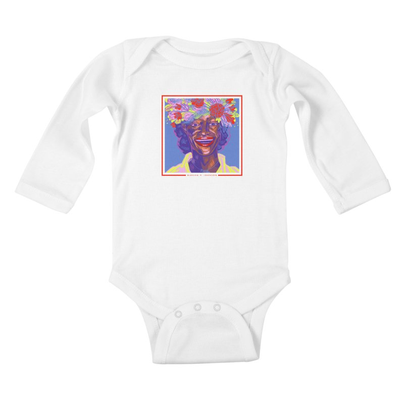 DrawingPride No.6: Marsha P. Johnson Kids Baby Longsleeve Bodysuit by Michael J Hildebrand's Artist Shop
