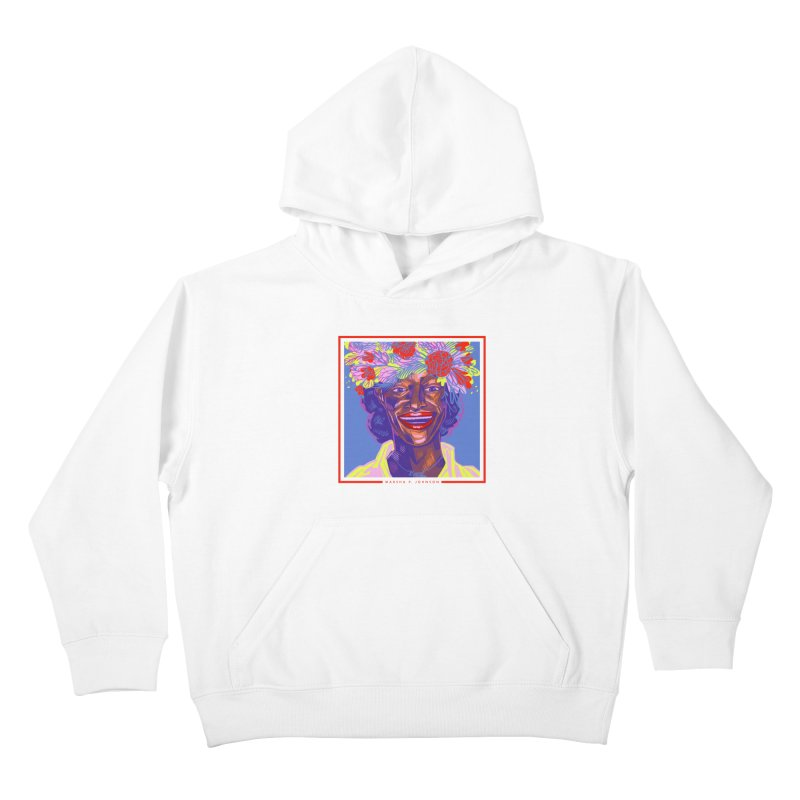 DrawingPride No.6: Marsha P. Johnson Kids Pullover Hoody by Michael J Hildebrand's Artist Shop