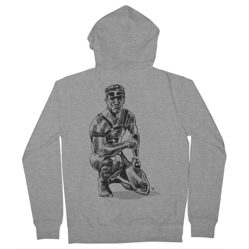 DrawingPride No.8: Leather Men's French Terry Zip-Up Hoody by Michael J Hildebrand's Artist Shop