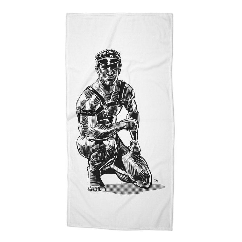DrawingPride No.8: Leather Accessories Beach Towel by Michael J Hildebrand's Artist Shop