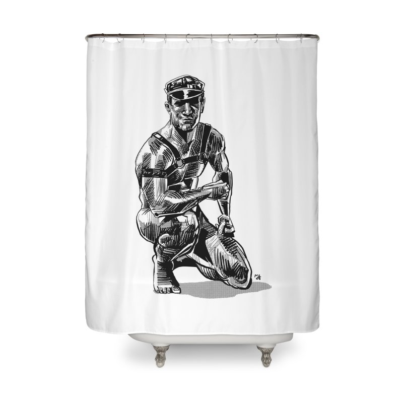 DrawingPride No.8: Leather Home Shower Curtain by Michael J Hildebrand's Artist Shop