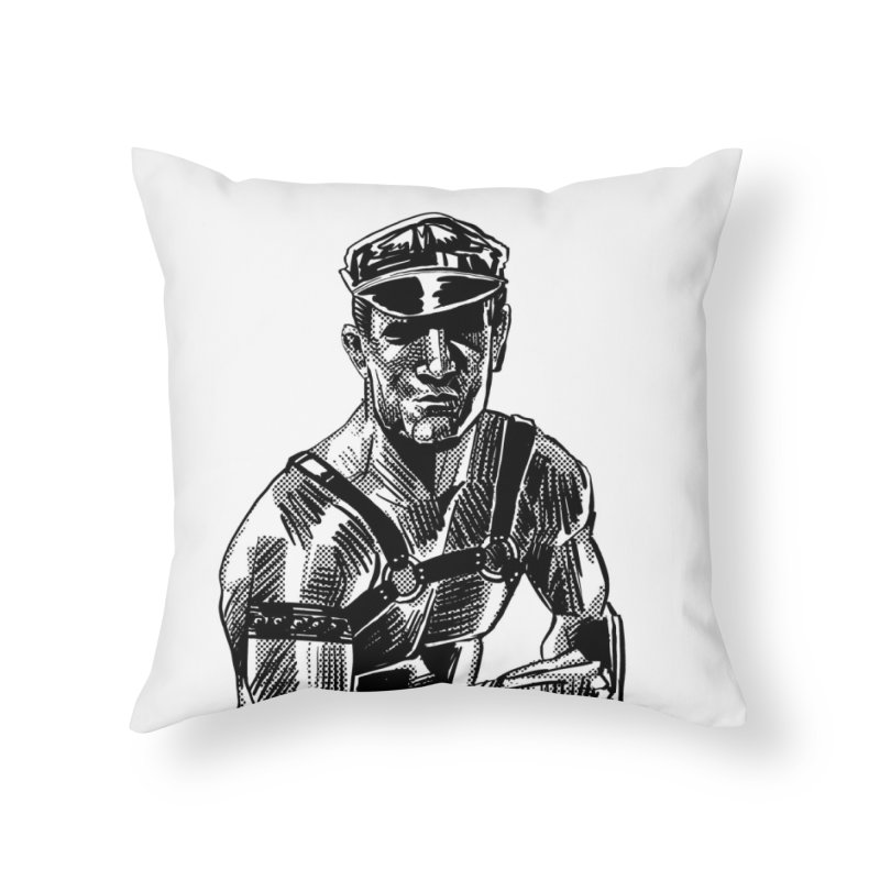 DrawingPride No.8: Leather Home Throw Pillow by Michael J Hildebrand's Artist Shop