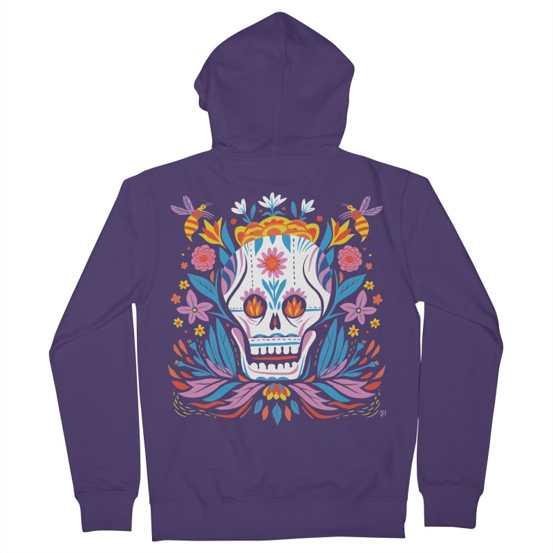 Día de los Muertos (night version) Women's French Terry Zip-Up Hoody by Michael J Hildebrand's Artist Shop