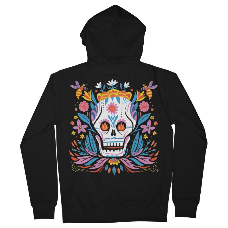 Día de los Muertos (night version) Men's French Terry Zip-Up Hoody by Michael J Hildebrand's Artist Shop