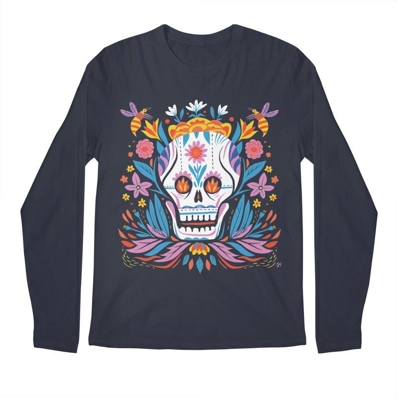Día de los Muertos (night version) Men's Regular Longsleeve T-Shirt by Michael J Hildebrand's Artist Shop