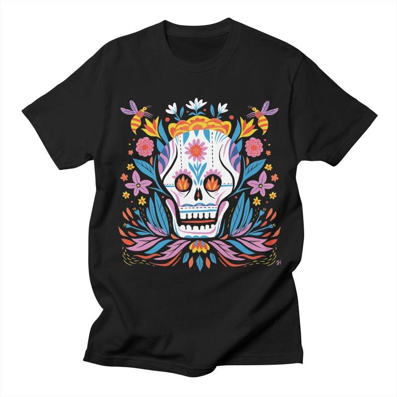 Día de los Muertos (night version) Men's Regular T-Shirt by Michael J Hildebrand's Artist Shop