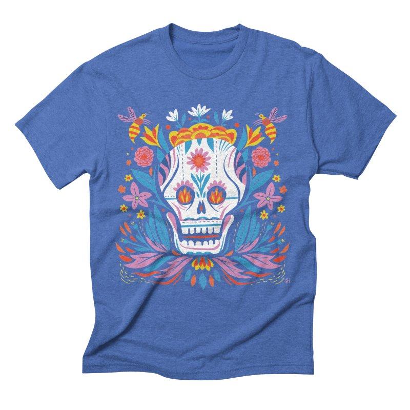 Día de los Muertos (night version) Men's Triblend T-Shirt by Michael J Hildebrand's Artist Shop