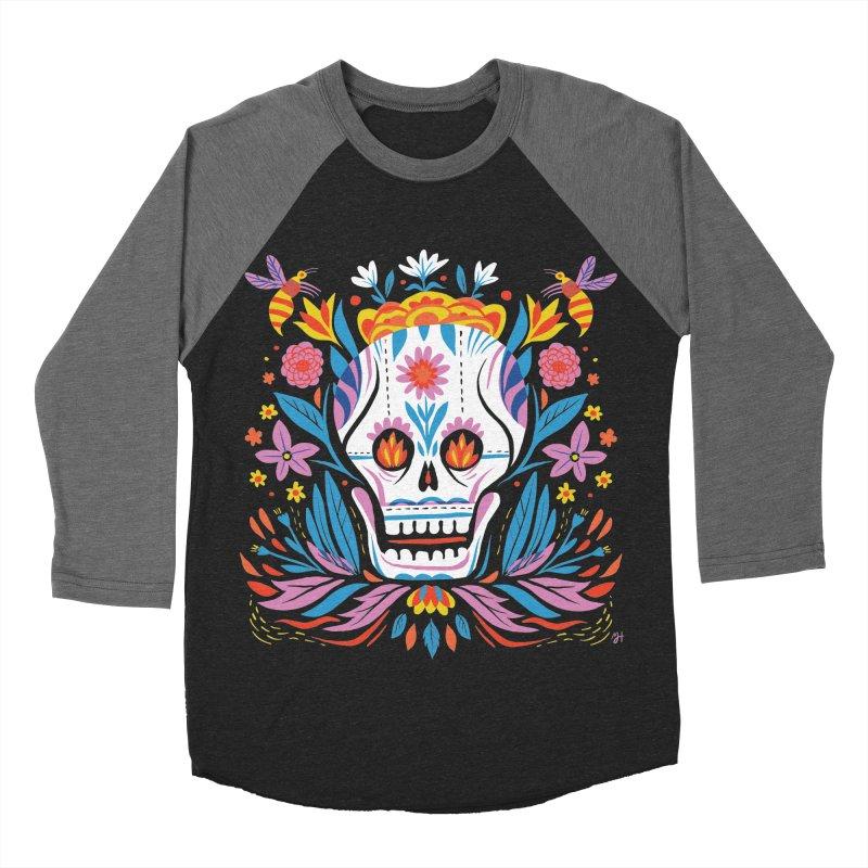 Día de los Muertos (night version) Men's Baseball Triblend Longsleeve T-Shirt by Michael J Hildebrand's Artist Shop