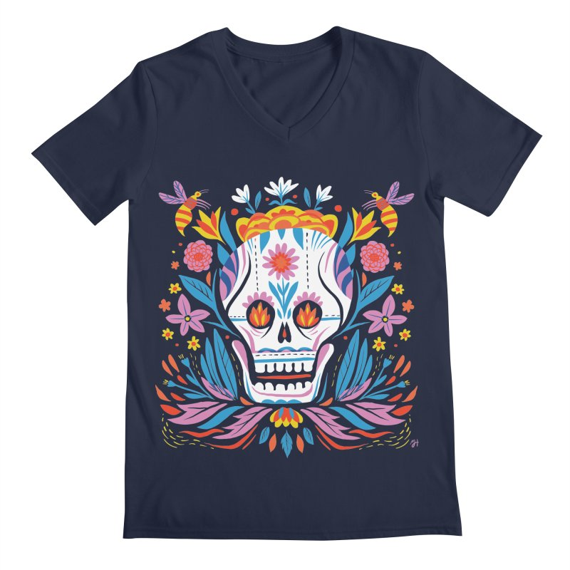 Día de los Muertos (night version) Men's Regular V-Neck by Michael J Hildebrand's Artist Shop