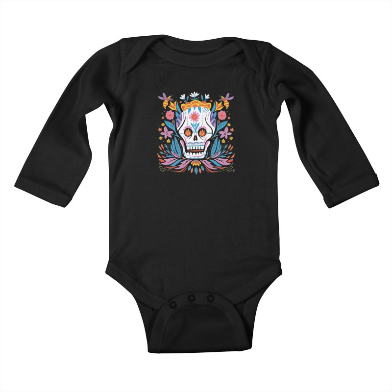 Día de los Muertos (night version) Kids Baby Longsleeve Bodysuit by Michael J Hildebrand's Artist Shop