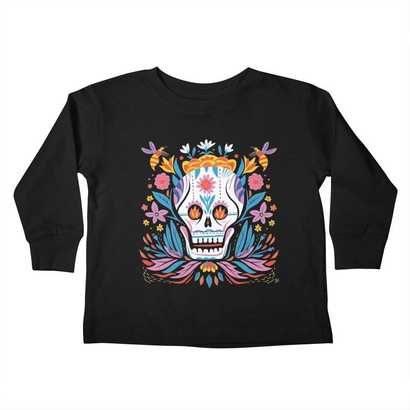 Día de los Muertos (night version) Kids Toddler Longsleeve T-Shirt by Michael J Hildebrand's Artist Shop