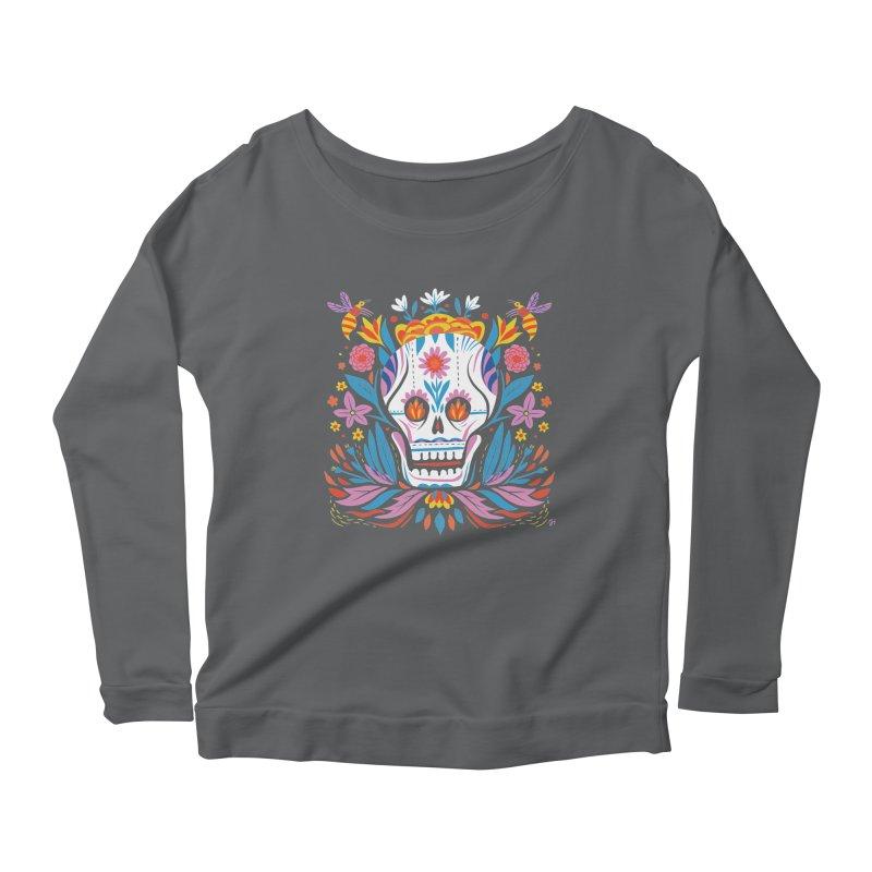 Día de los Muertos (night version) Women's Scoop Neck Longsleeve T-Shirt by Michael J Hildebrand's Artist Shop