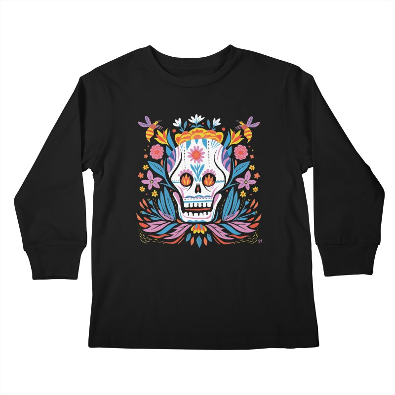 Día de los Muertos (night version) Kids Longsleeve T-Shirt by Michael J Hildebrand's Artist Shop