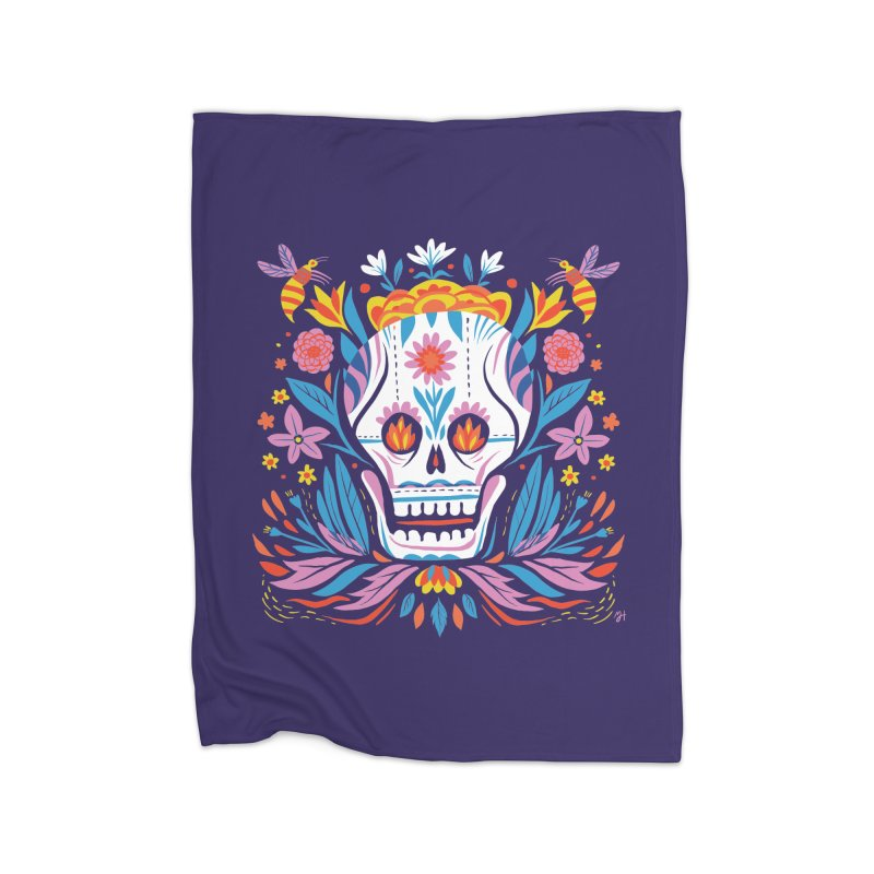 Día de los Muertos (night version) Home Fleece Blanket Blanket by Michael J Hildebrand's Artist Shop
