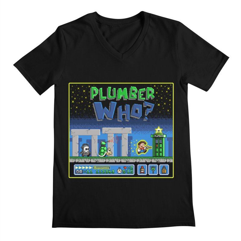 """Plumber Who?"" - Stonehenge Men's Regular V-Neck by Garbonite"