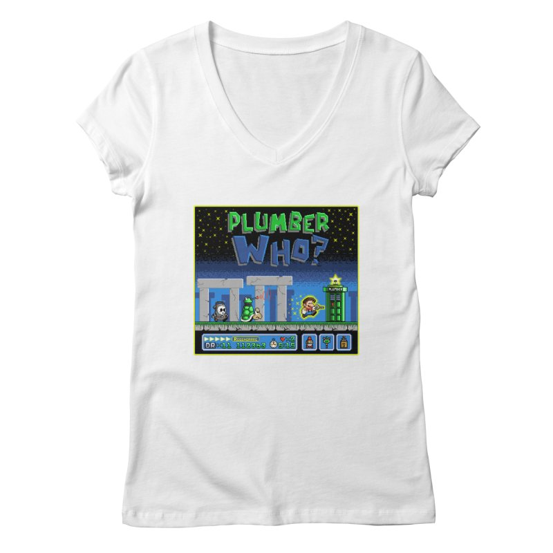 """Plumber Who?"" - Stonehenge Women's Regular V-Neck by Garbonite"