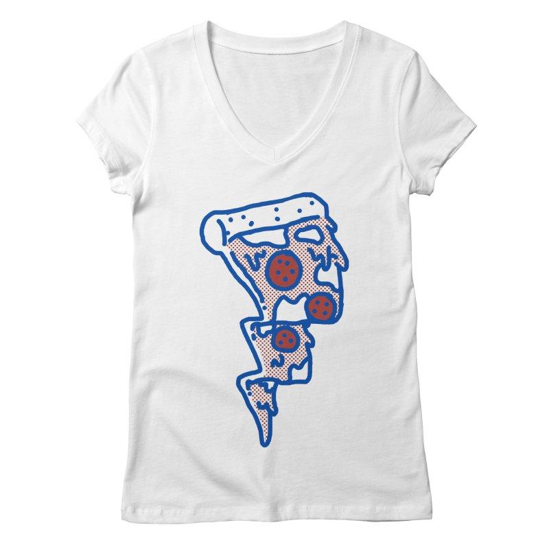 Pop Pizza flash Women's V-Neck by micheleficeli's Artist Shop