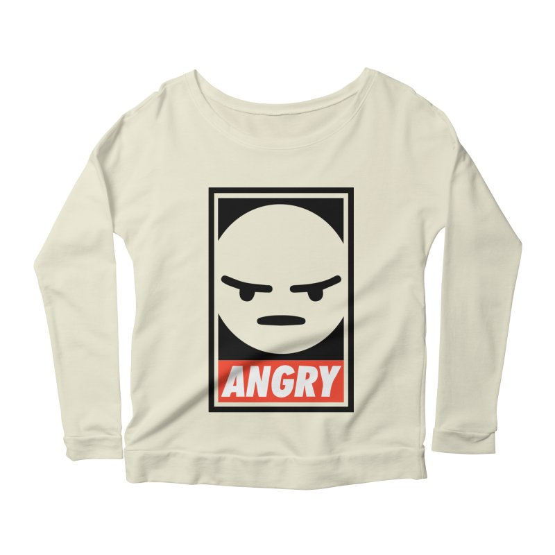 Angry Reacts Only Women's Longsleeve Scoopneck  by michelerota's Artist Shop