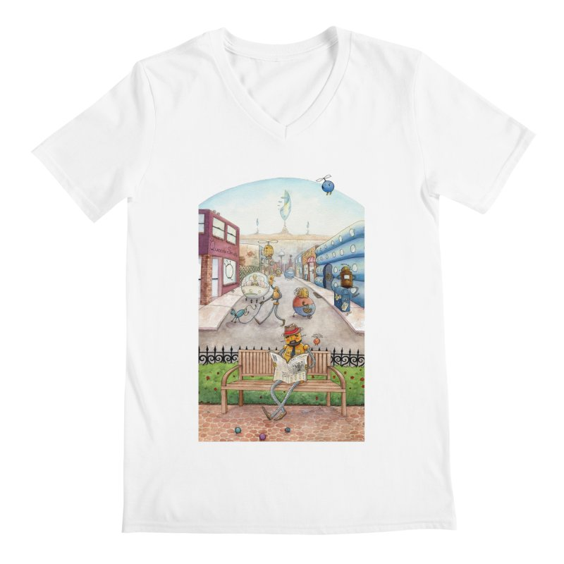 Robot City Men's V-Neck by michellemiller's Artist Shop
