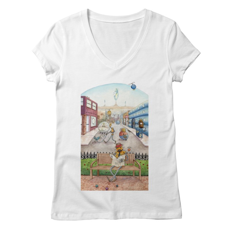 Robot City Women's V-Neck by michellemiller's Artist Shop