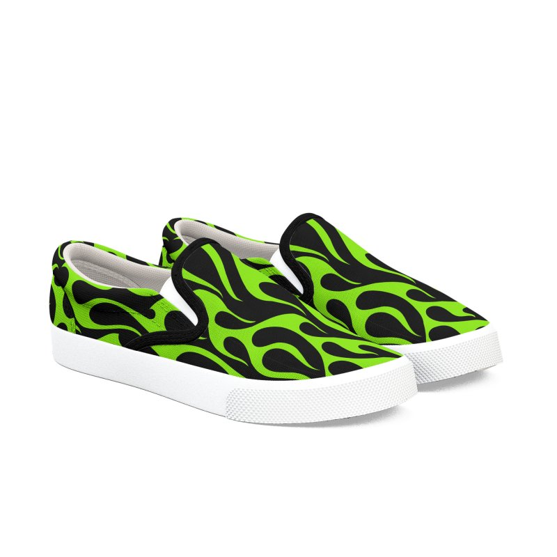 Green fire Men's Slip-On Shoes by Mico Jones Artist Shop