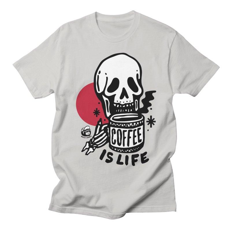 COFFEE IS LIFE in Men's Regular T-Shirt Stone by Mico Jones Artist Shop