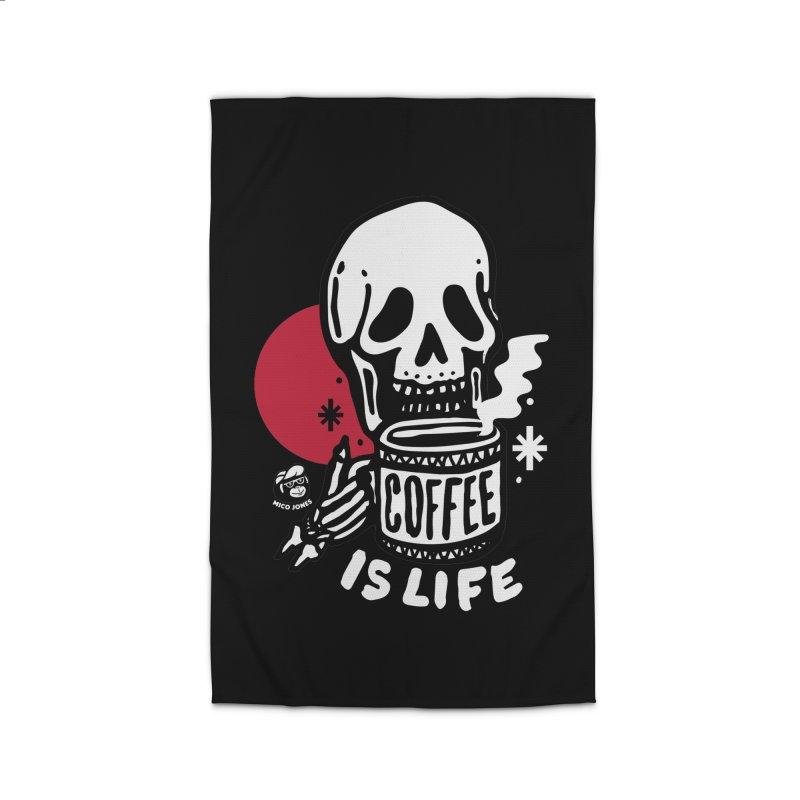 COFFEE IS LIFE BLACK Home Rug by Mico Jones Artist Shop