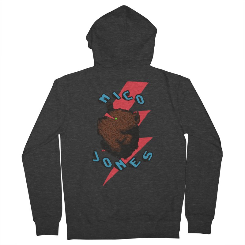 LCD BEAR Women's French Terry Zip-Up Hoody by Mico Jones Artist Shop