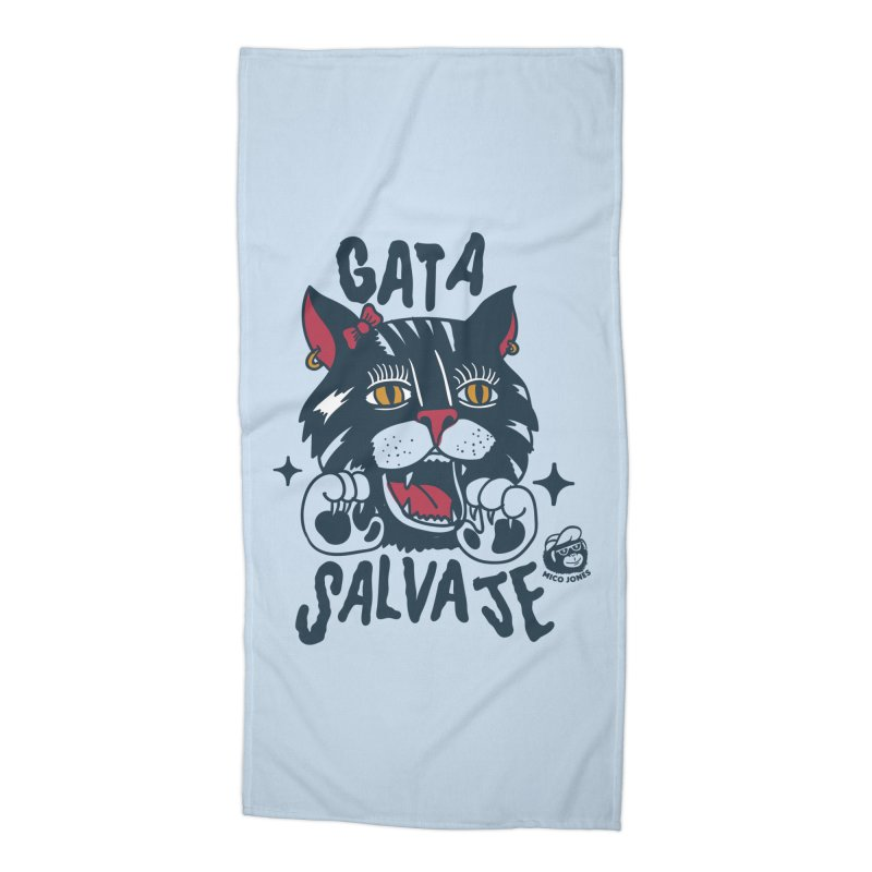 GATA SALVAJE Accessories Beach Towel by Mico Jones Artist Shop