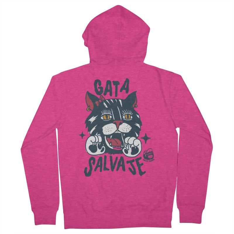 GATA SALVAJE Women's French Terry Zip-Up Hoody by Mico Jones Artist Shop