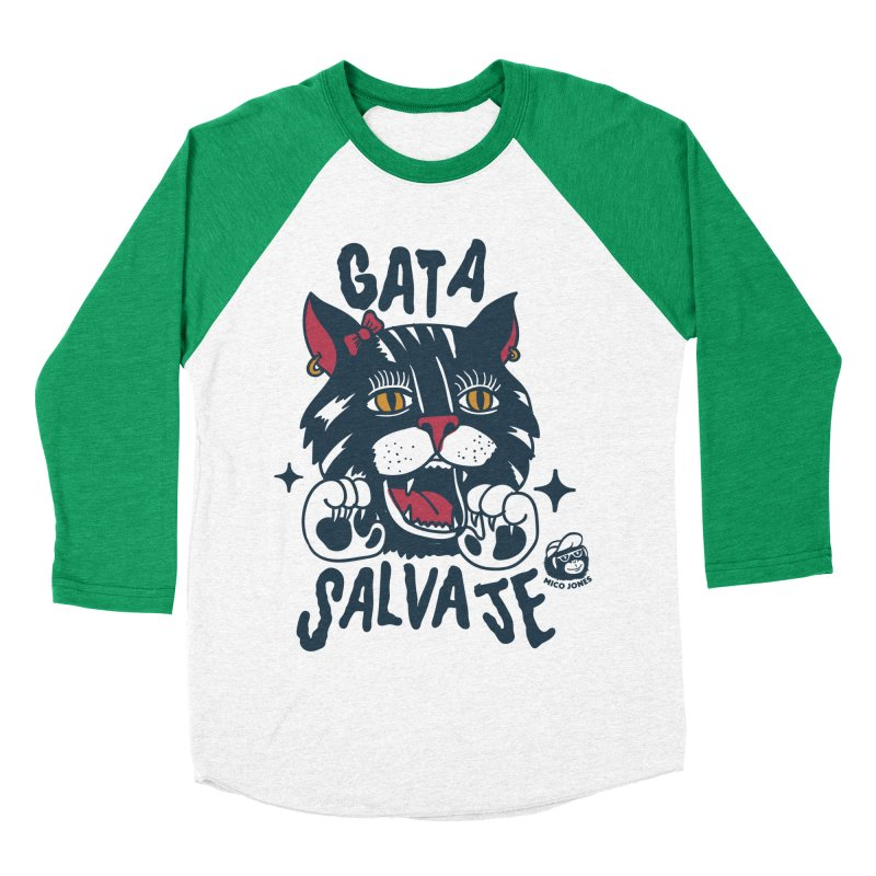 GATA SALVAJE Men's Baseball Triblend T-Shirt by Mico Jones Artist Shop