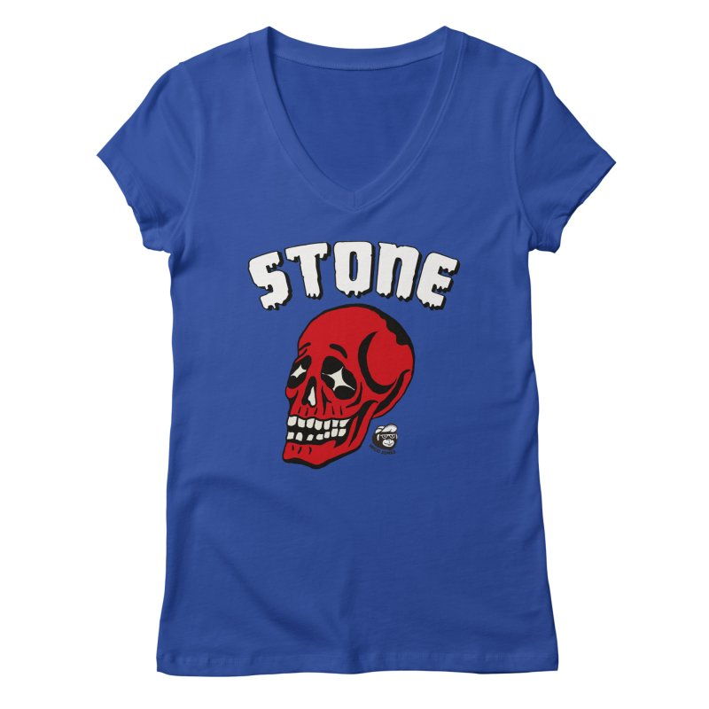 STONE SkULL Women's V-Neck by Mico Jones Artist Shop