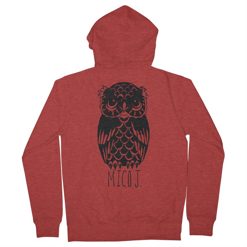 MICO OWL Women's French Terry Zip-Up Hoody by Mico Jones Artist Shop