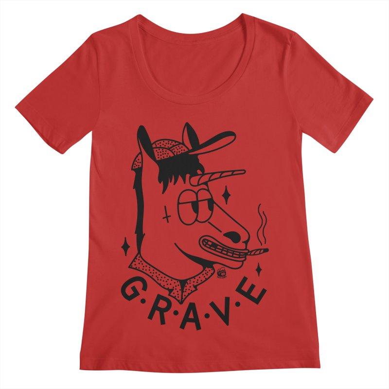 GRAVE Women's Regular Scoop Neck by Mico Jones Artist Shop