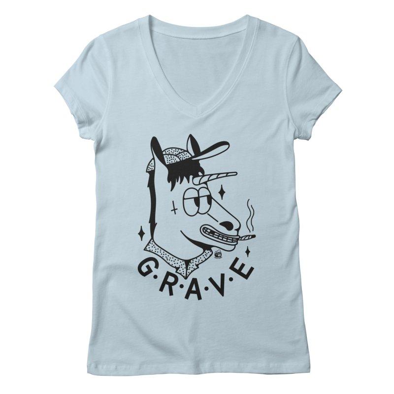 GRAVE Women's V-Neck by Mico Jones Artist Shop