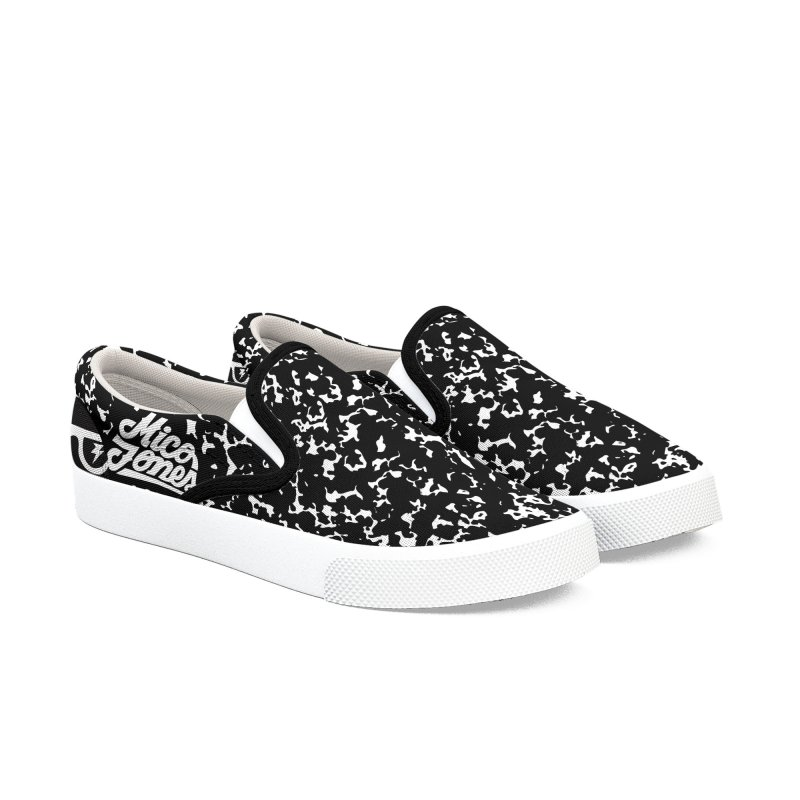 GRAVE WHITE Men's Slip-On Shoes by Mico Jones Artist Shop