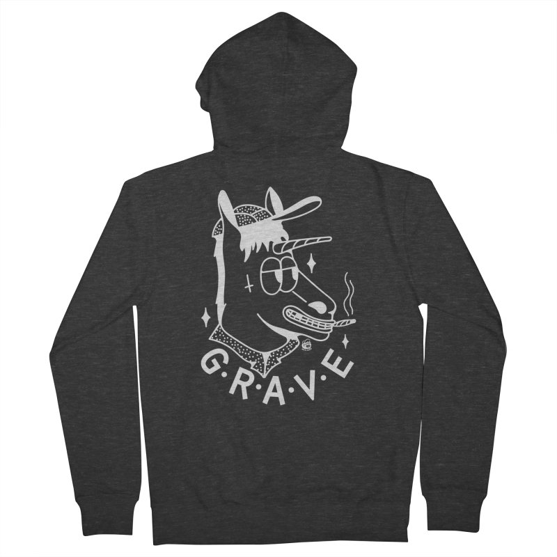 GRAVE WHITE Women's Zip-Up Hoody by Mico Jones Artist Shop