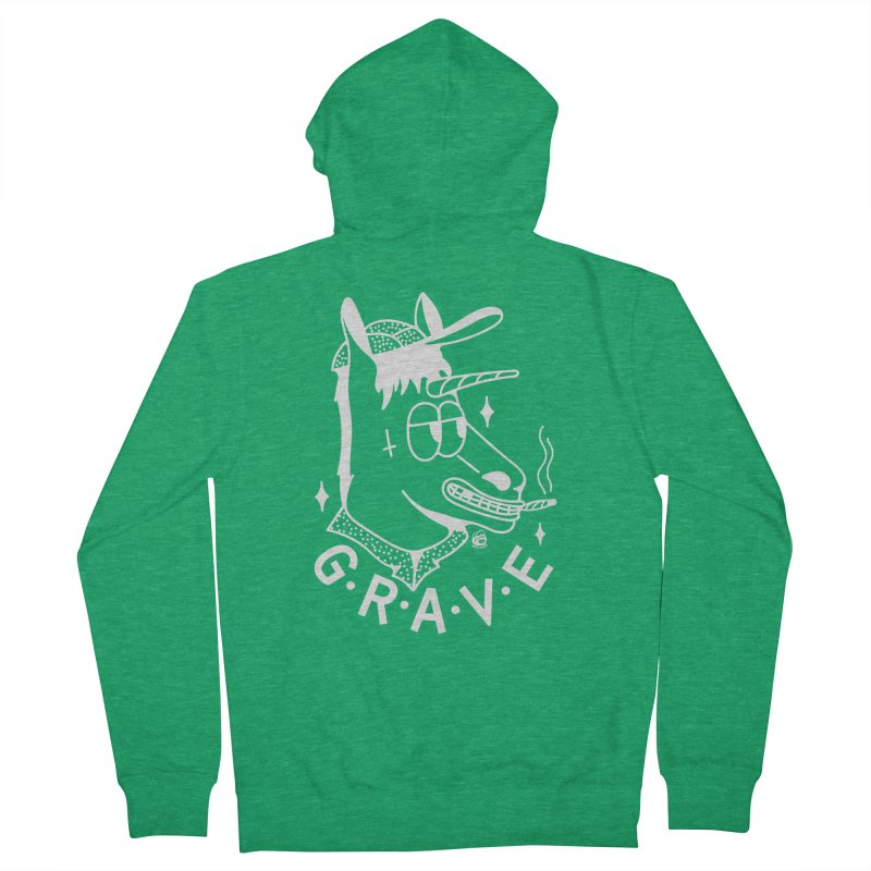 GRAVE WHITE Men's Zip-Up Hoody by Mico Jones Artist Shop