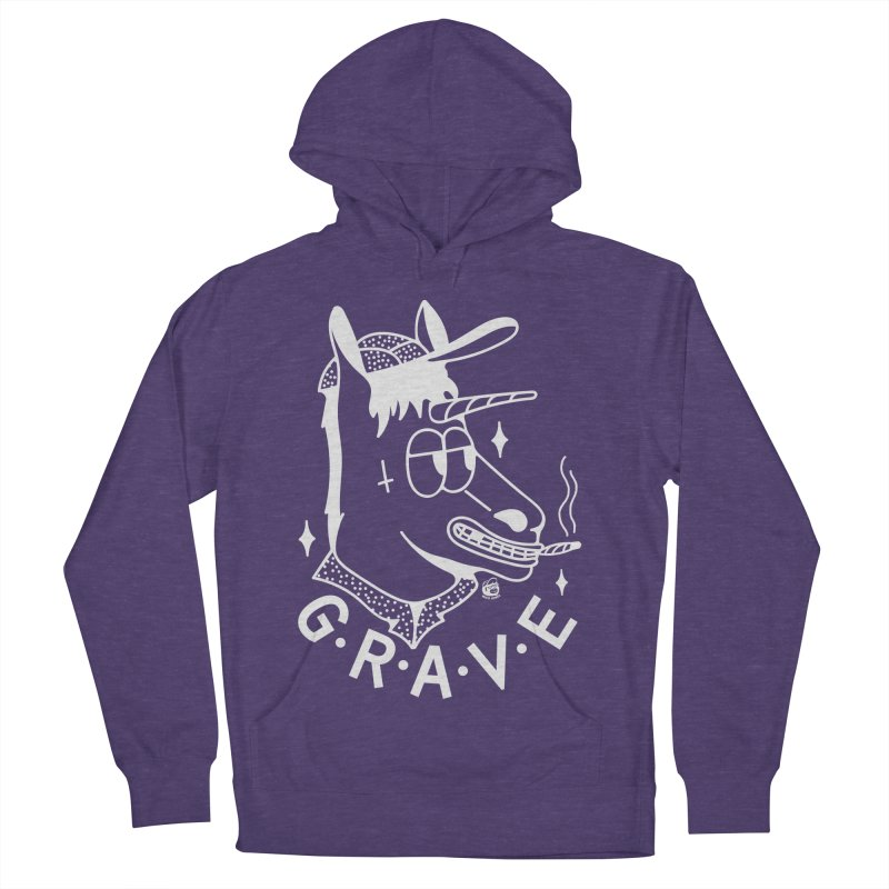 GRAVE WHITE Women's French Terry Pullover Hoody by Mico Jones Artist Shop
