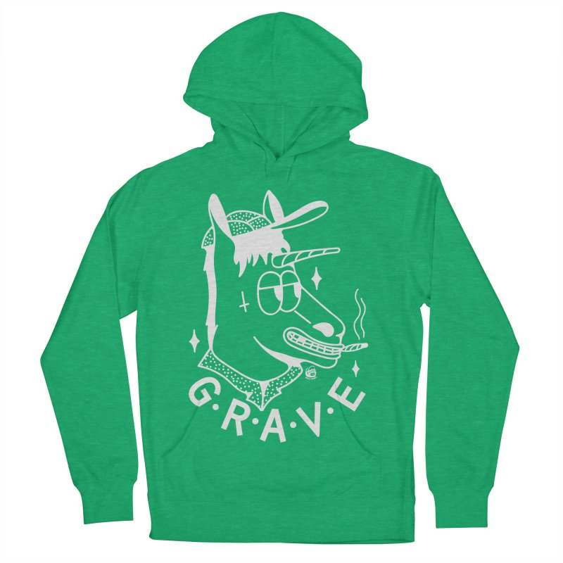GRAVE WHITE Men's French Terry Pullover Hoody by Mico Jones Artist Shop