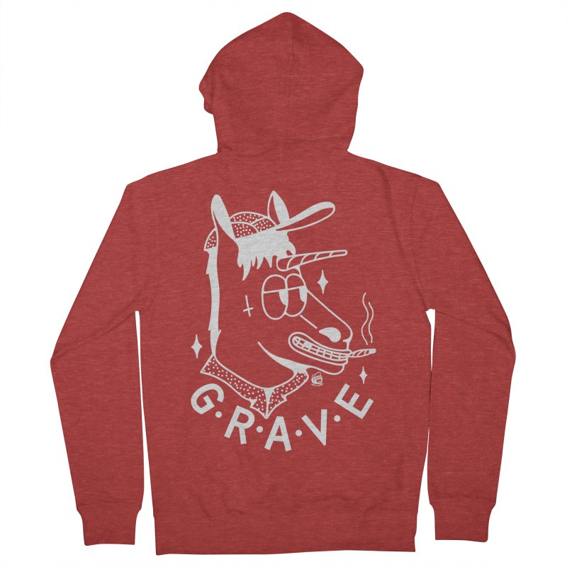 GRAVE WHITE Men's French Terry Zip-Up Hoody by Mico Jones Artist Shop