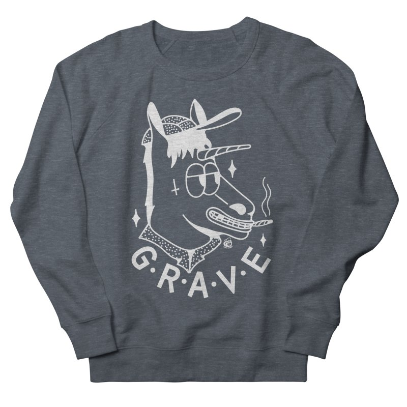 GRAVE WHITE Women's French Terry Sweatshirt by Mico Jones Artist Shop