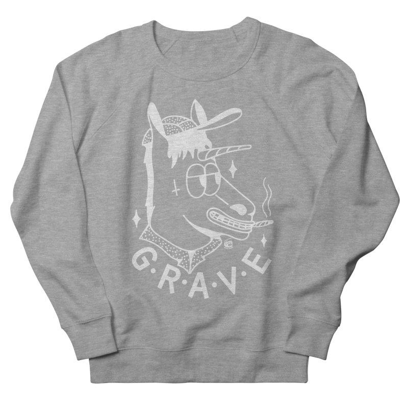 GRAVE WHITE Women's French Terry Sweatshirt by Mico Jones Artist Shop