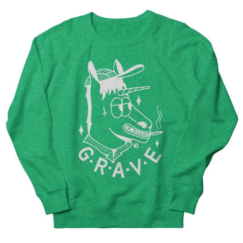 GRAVE WHITE Men's French Terry Sweatshirt by Mico Jones Artist Shop