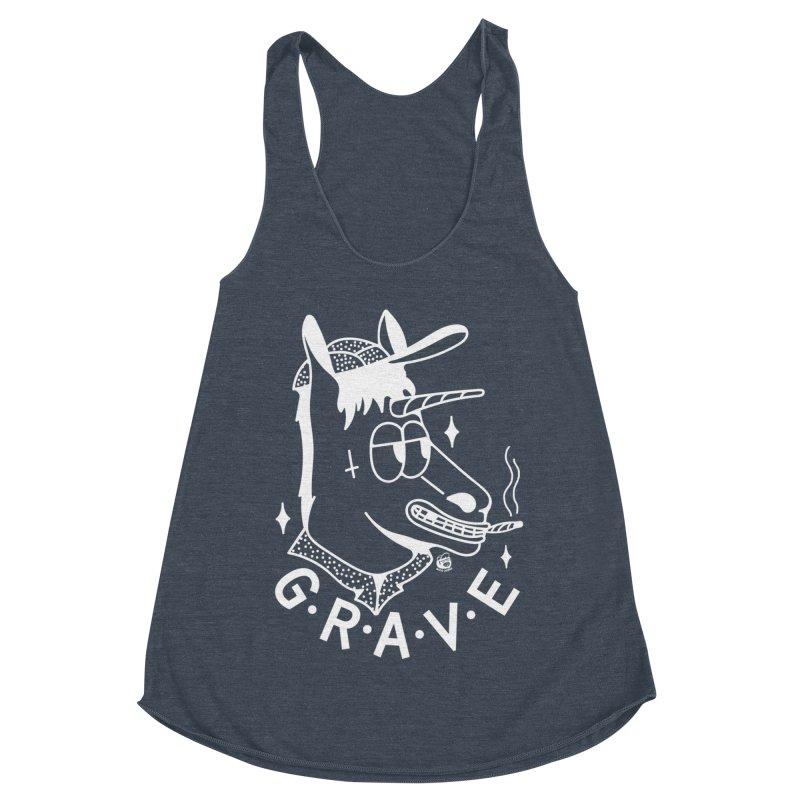 GRAVE WHITE Women's Racerback Triblend Tank by Mico Jones Artist Shop