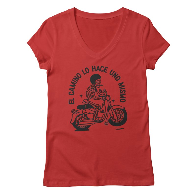 EL CAMINO WHITE Women's V-Neck by Mico Jones Artist Shop