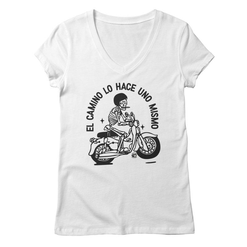 EL CAMINO WHITE Women's Regular V-Neck by Mico Jones Artist Shop