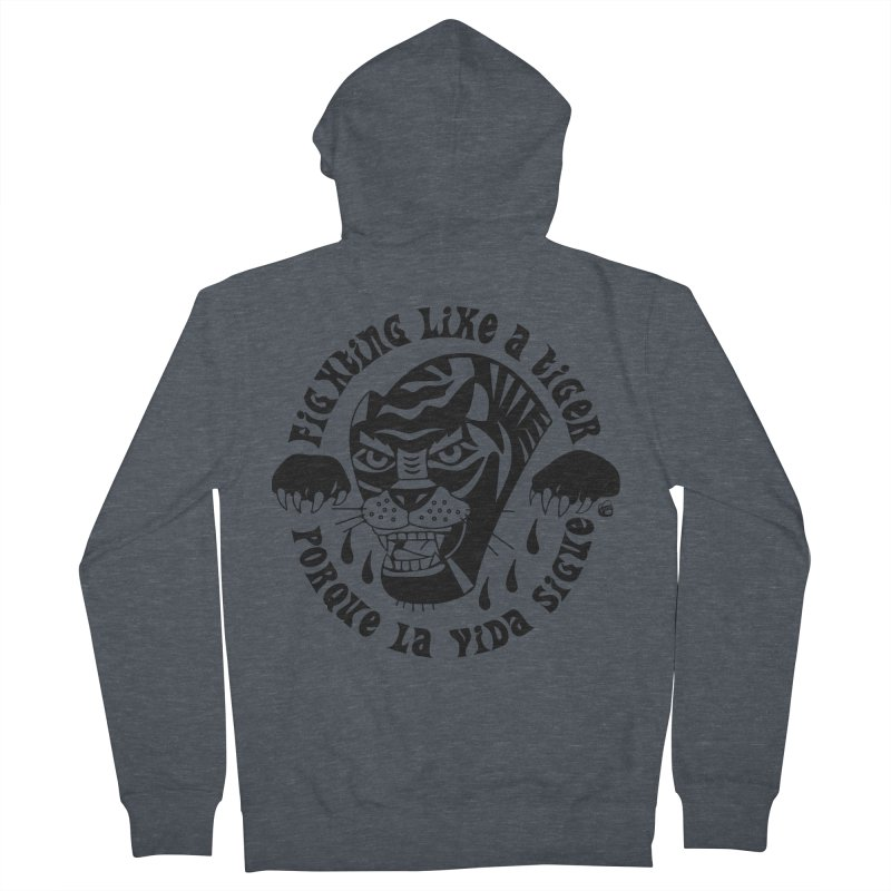 LIKE A TIGER Men's Zip-Up Hoody by Mico Jones Artist Shop