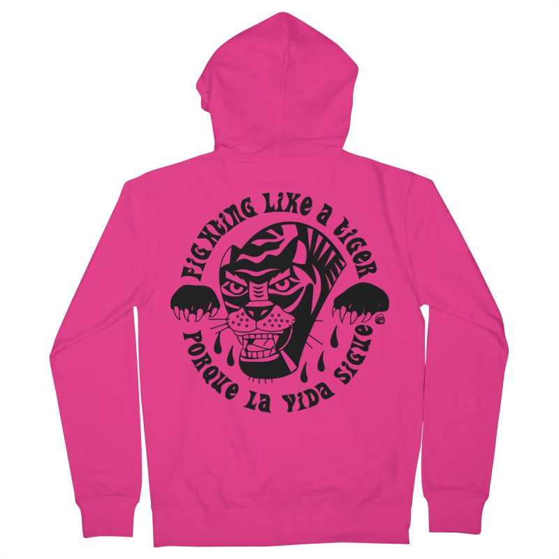 LIKE A TIGER Men's French Terry Zip-Up Hoody by Mico Jones Artist Shop